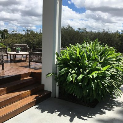 Plant selection, pool fencing, paving, and stone cladding in Florida Gardens.