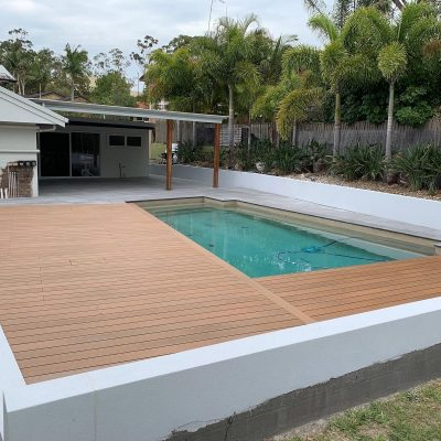 Composite decking, paving and pool coping in Ashmore.