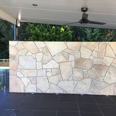 Outdoor kitchen, crazy paving, sandstone paving and tiling in Lower Beechmont.