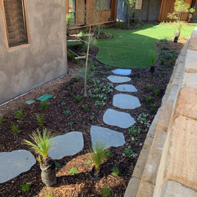 Landscape design, native garden, basalt paving, irrigation and garden lighting.